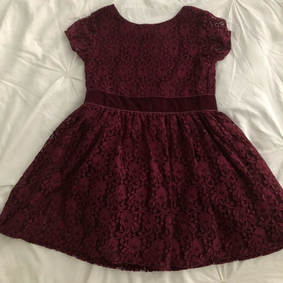 Toddler Burgundy Lace Dress